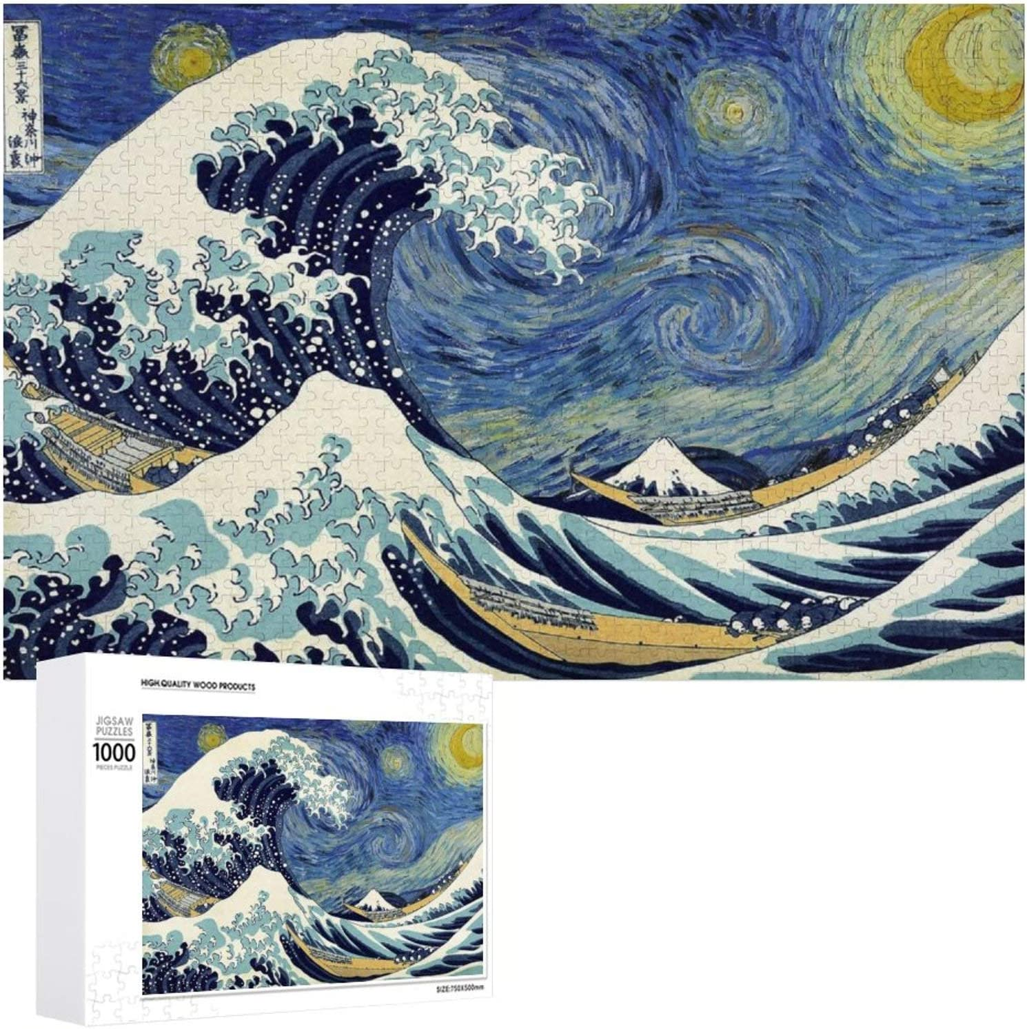 Wooden Jigsaw Puzzles Difficult 500/1000 Pieces,Great Wave of Kanagawa,Starry Night Great Wave,Cute Cartoon Anime Game Entertainment DIY Toys Creative Gift Home Decor for Adult and Kids,Boys,Girls