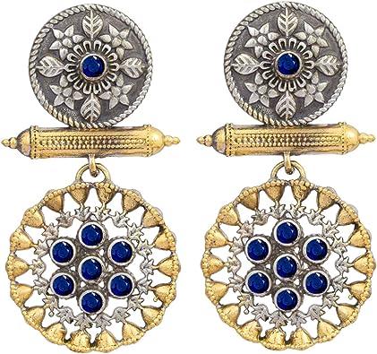 Beautiful Oxidized Plated  Silver  Earrings Meenakari earrings Boho Jewelry Ethnic Earrings Screw Back  Earrings Gift For Her