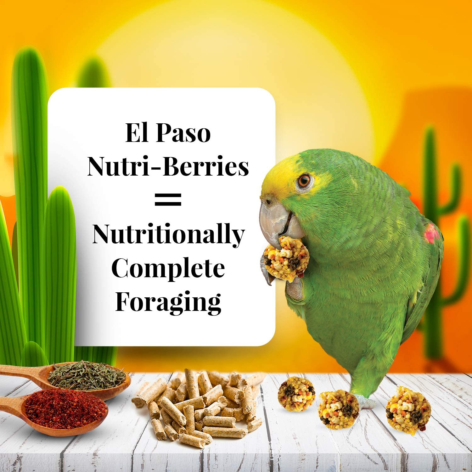 LAFEBER'S El Paso Nutri-Berries Pet Bird Food, Made with Non-GMO and Human-Grade Ingredients, for Parrots