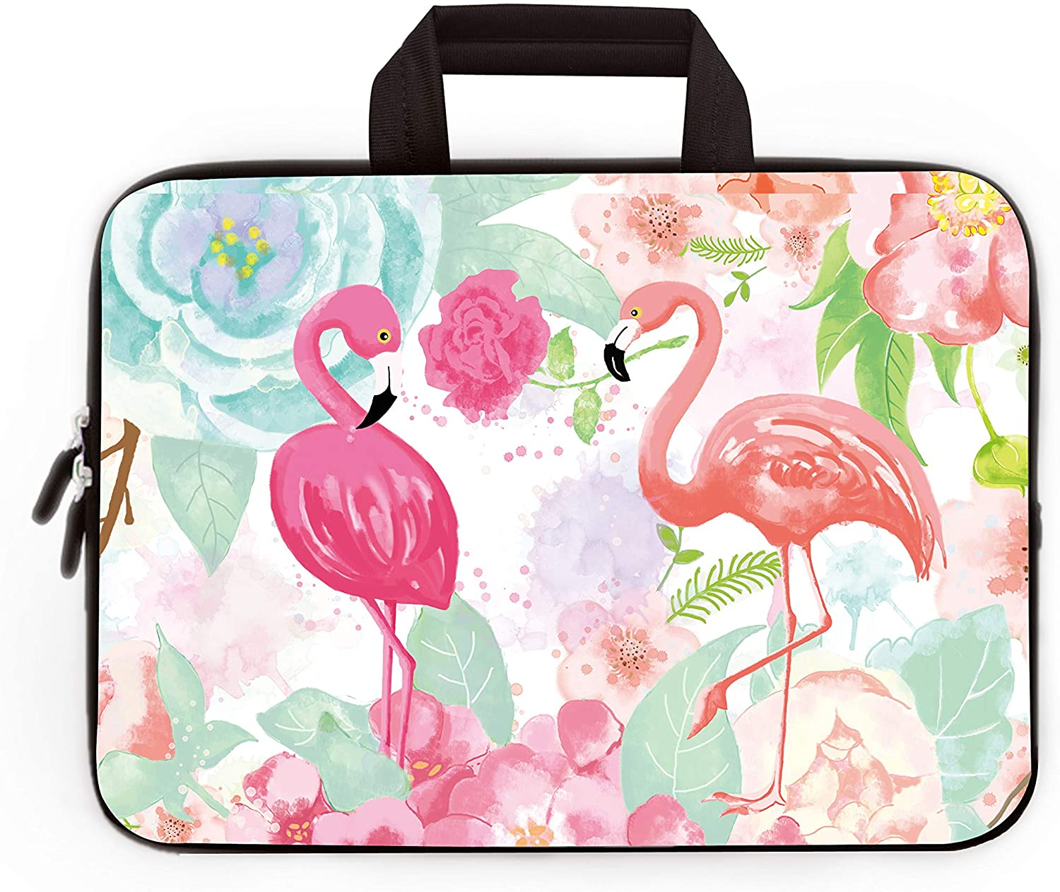 Funny Laptop Sleeve Coconut Palm Flamingo Pattern Tablet Sleeve Scratch Resistant Neoprene Laptop Computer Case Five White 13inch