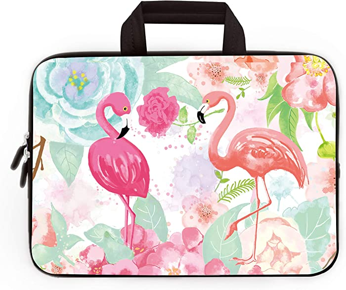 14 15 15.4 15.6 inch Laptop Handle Bag Computer Protect Case Pouch Holder Notebook Sleeve Neoprene Cover Soft Carrying Travel Case For Dell Lenovo Toshiba HP Chromebook ASUS Acer (Cute Flamingos)