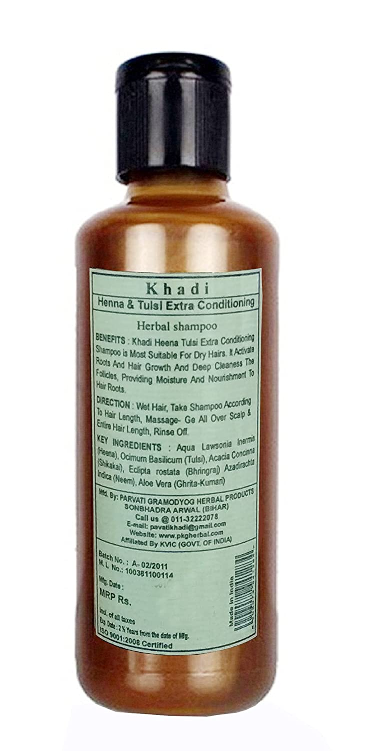 Amazon Com Khadi Herbal Henna Tulsi Extra Conditioning Shampoo