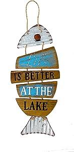 Lake House Coastal Beach Decor Wall Plaque Wood & Metal Rustic Fish 20