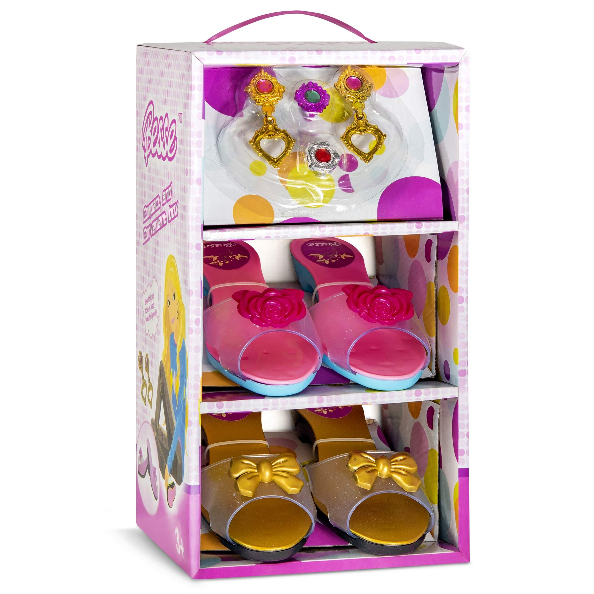 JaxoJoy Shoes and Jewelry Boutique - Little Girl Princess Play Gift Set with 2 Pairs of Shoes, 2 Rings & 1 Pair of Earrings - Great for Dress Up & Group Play - Recommended Ages 3+