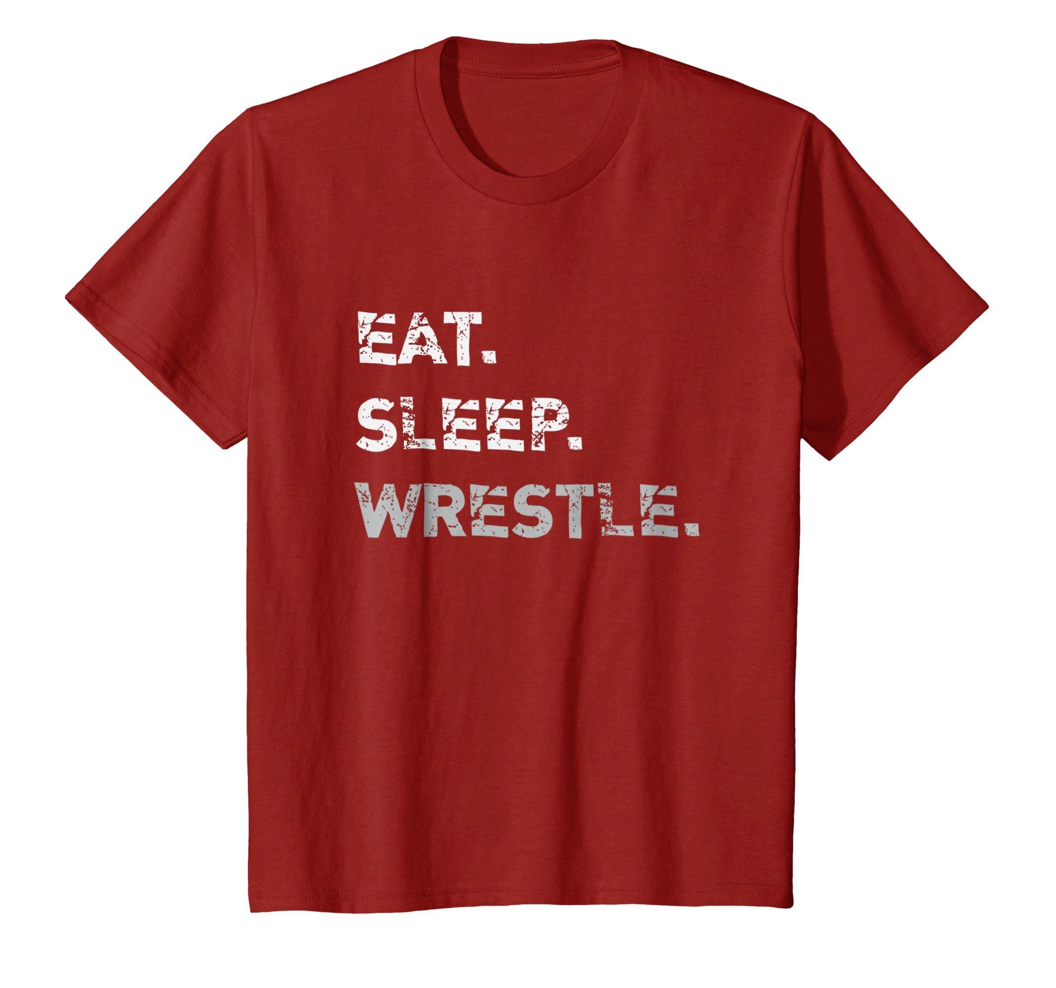 Kids Eat Sleep Wrestle Wrestling T-Shirt 8 Cranberry