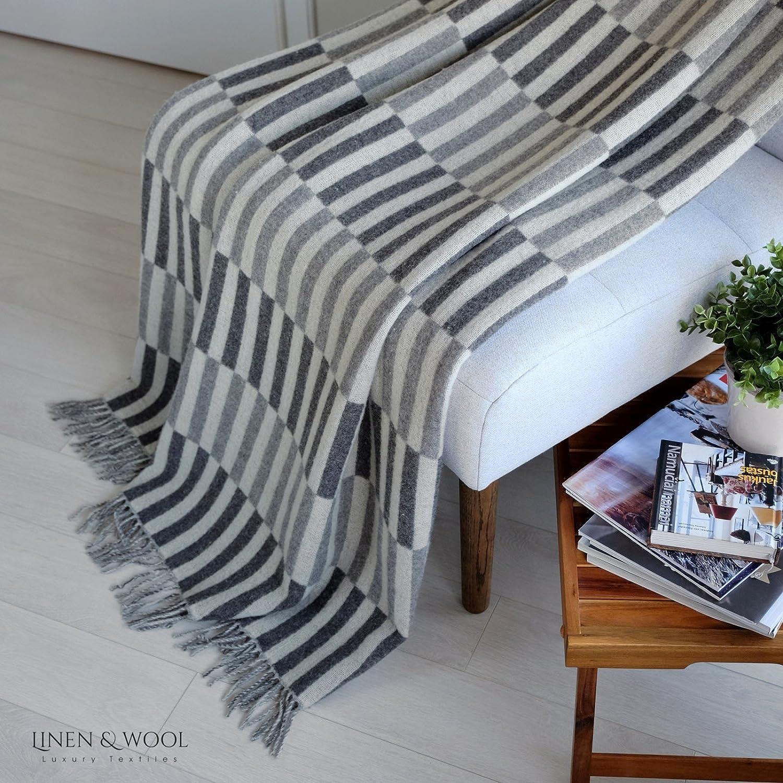 140 x 200cm Marrone Linen /& Cotton Plaid di Lusso Coperta//Copriletto//Coperte FRANS 100/% Lana Merino