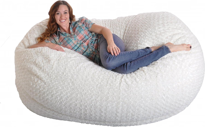 SLACKER sack 6 Feet Memory Foam Beanbag Chair Lounger, White