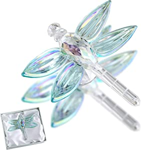 H&D HYALINE & DORA Crystal Dragonfly Figurine Glass Animal Figurines Collectibles Home Decor Paperweight