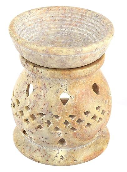 Lámpara aromática 11cm gotas rejilla decorativa piedra de jabón hornillo 2 partes velita