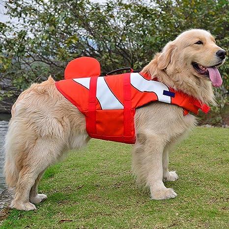 Pet Online Chaleco salvavidas para perros pet cosplay nadar Flotador chaleco salvavidas, rojo pez payaso