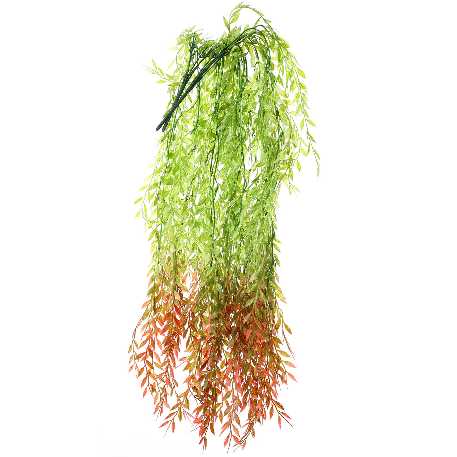 Felice Arts 2pcs 6.2 FT Artificial Vine Greenery Garland Real Touch Willow Rattan Wicker Twig Fake Garden Wedding Festival Windowsill Balcony Courtyard Decor, Red & Green