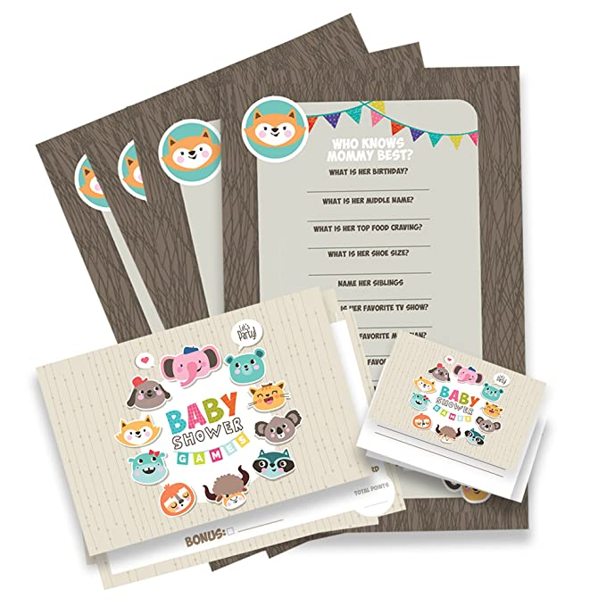 Amazon.com: Paper and Party Baby Shower Games Gender Reveal - 45 pcs. Neutral Baby Shower Boy Or Girl: Toys & Games