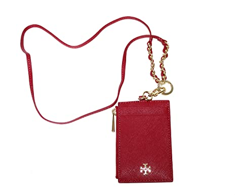 4fcaa267d3b9e Image Unavailable. Image not available for. Color  Tory Burch Emerson  Lanyard Saffiano Leather Card ID Case ...