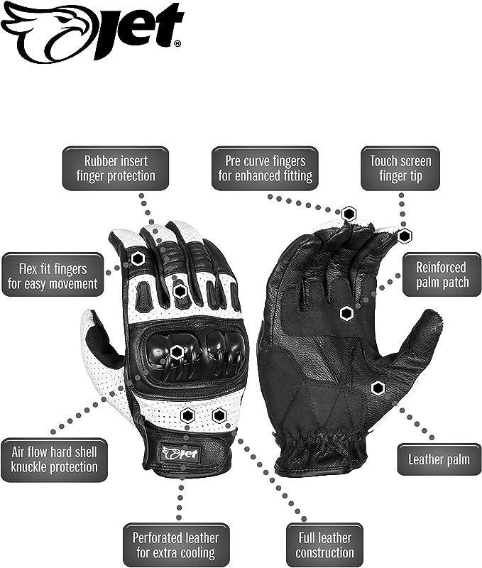 Jet Motorradhandschuhe Herren Sommer Leder Touchkompatible Fingerspitzen Handknöchelprotektor Belüftung Kobi Weiß M Auto