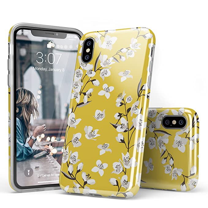 sports shoes 8bddb a3485 iPhone X Case for Girls, Flower Case iPhone 10, CASELY White Yellow Floral  Pattern Design Clear Bumper TPU Gel Slim Soft Flexible Rubber Silicone ...