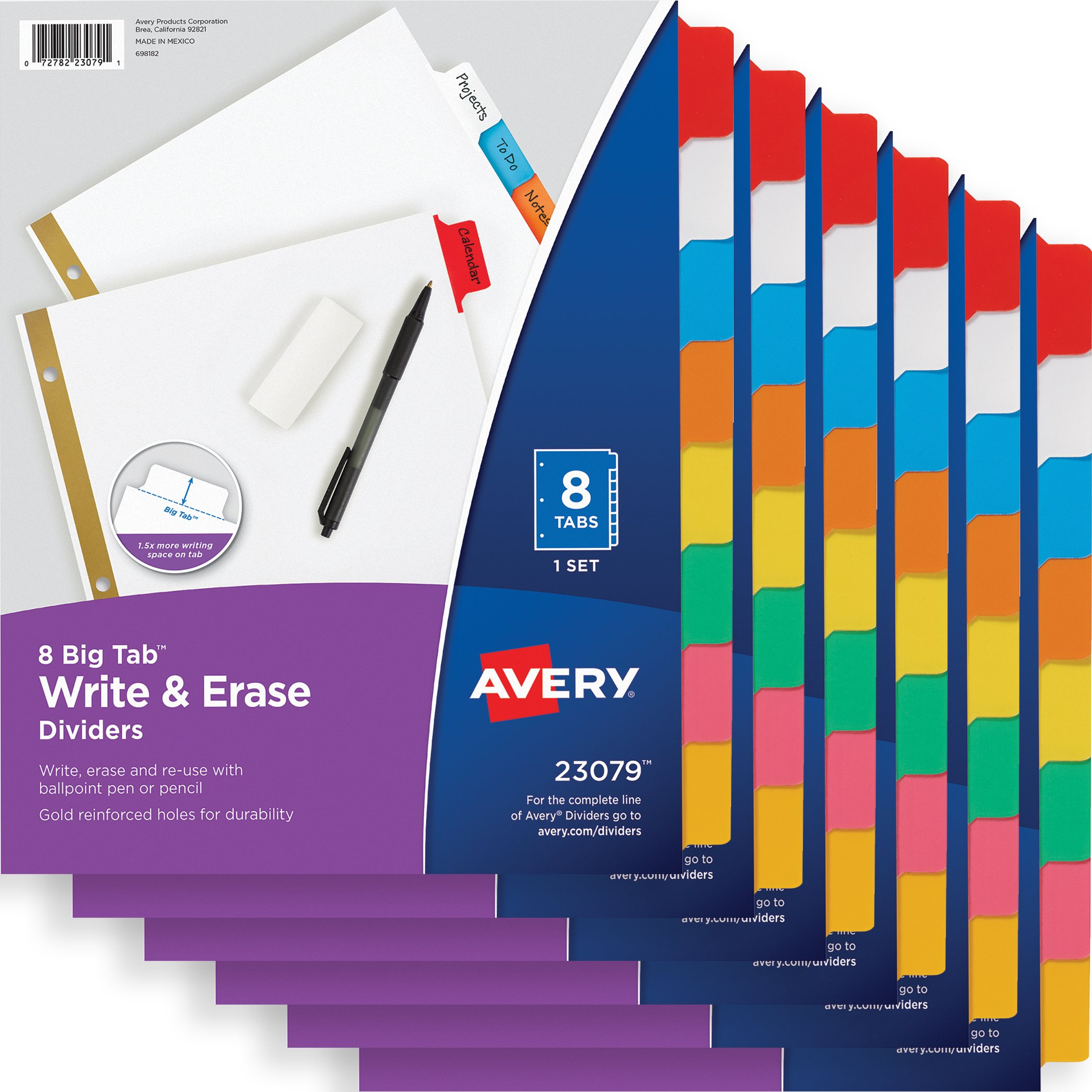 Avery Big Tab Write & Erase Dividers, 8-Tab Set, Multicolor, Multi Pack of 6 Sets (23079)