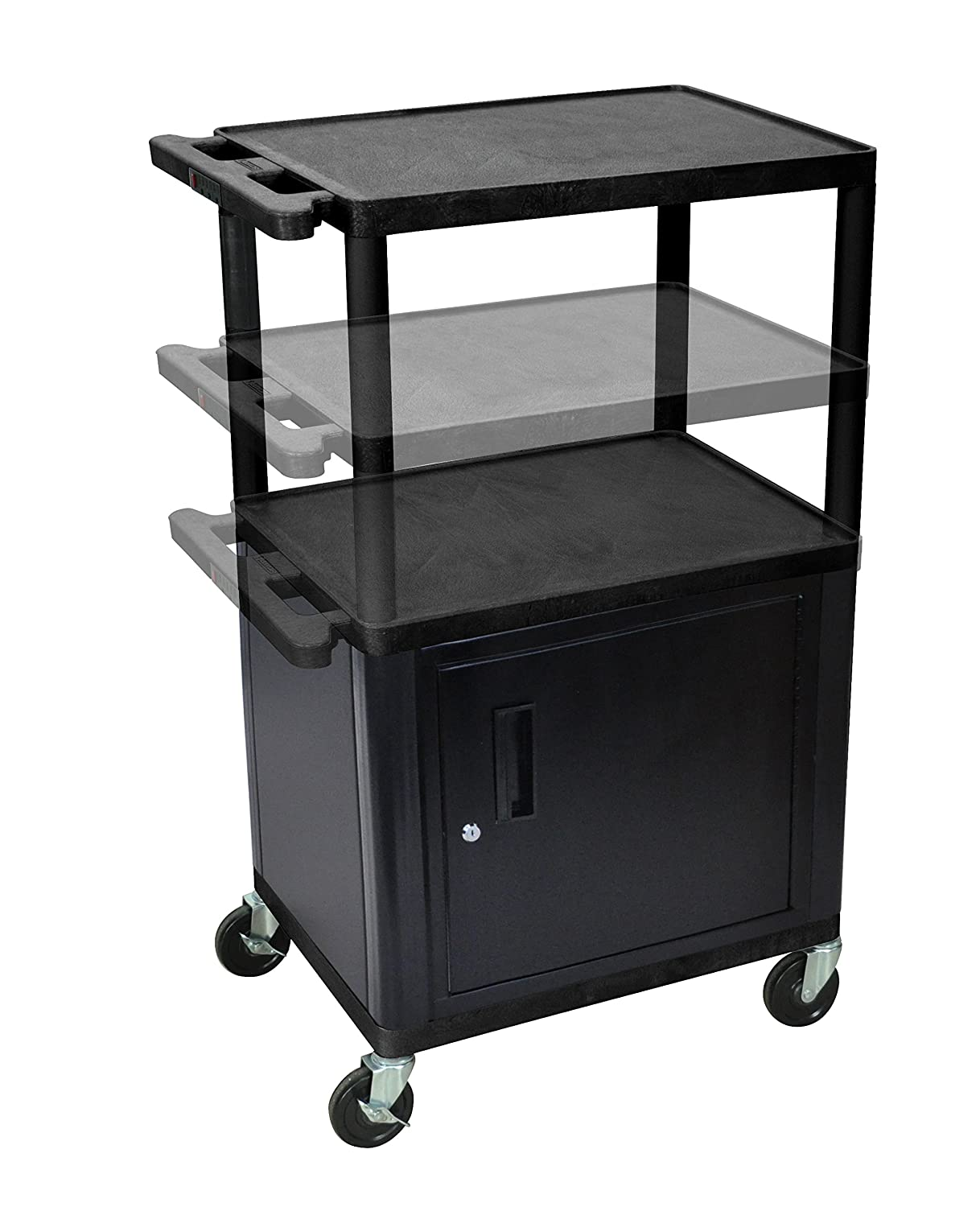 B000X91SSG LUXOR LPDUOCE-B Endura Presentation Cart, Multi Height with Cabinet and Electric, Black 81mD2BYunWEL._SL1500_