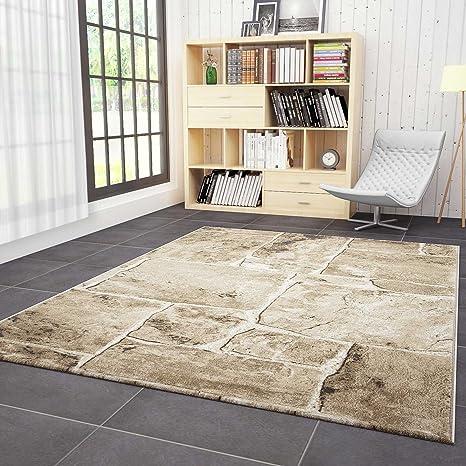 VIMODA Wohnzimmer Teppich in Beige Braun Stein Mauer Optik Klassisch Sehr  Dicht Gewebt Top Qualität 80x150 cm