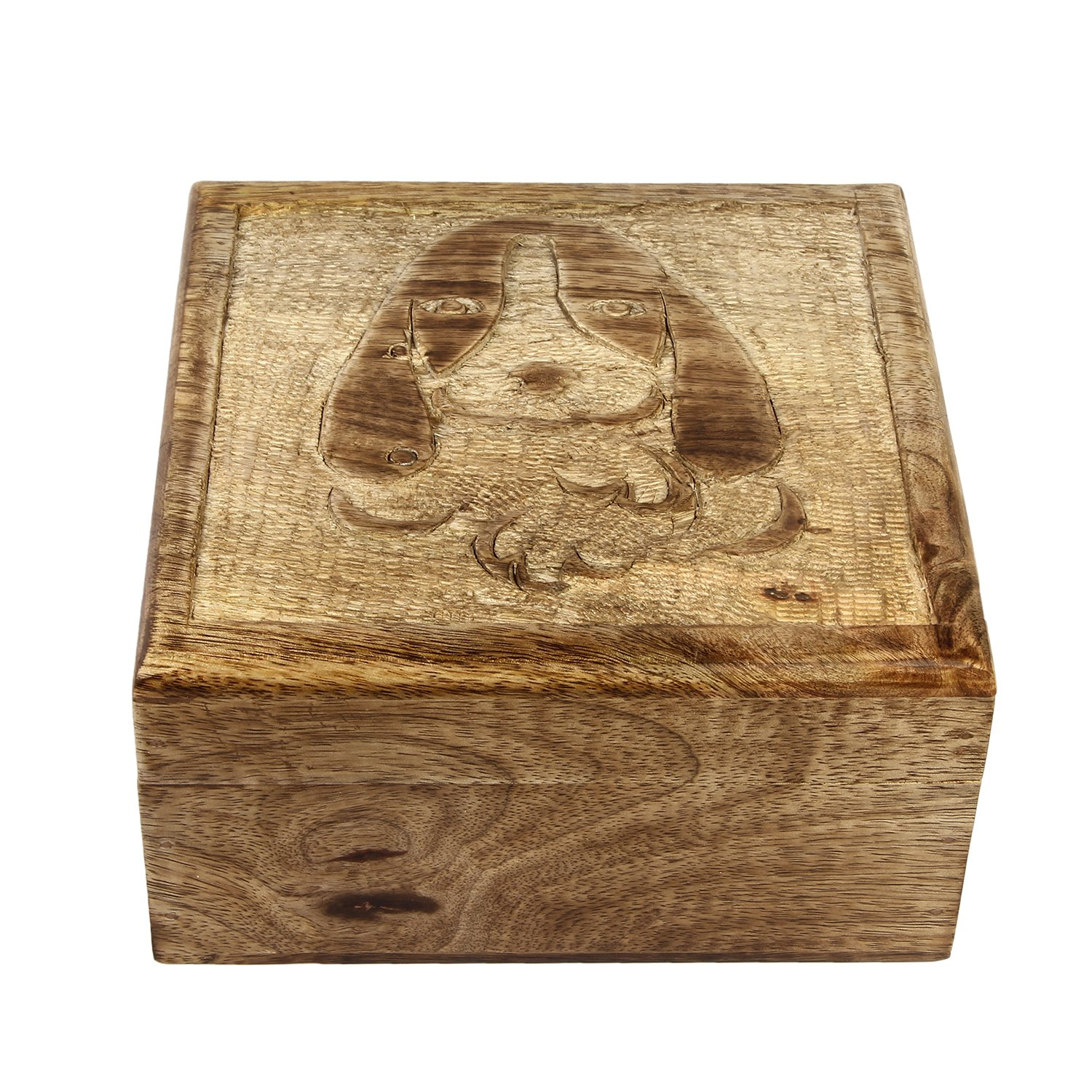 7 x 4 Inches LT-ANBOX-11 Aheli Icrafts India Wooden Storage Box for Kids Puppy Designed Multi-Utility Keepsake Square Box Children Room Decor