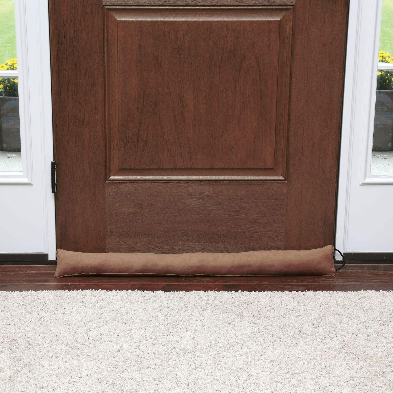 HOME DISTRICT Draft Dodger - Faux Suede Weighted Door and Window Breeze, Bug, Noise Guard Stopper Blocker - 35.5 Inches Long - Chocolate