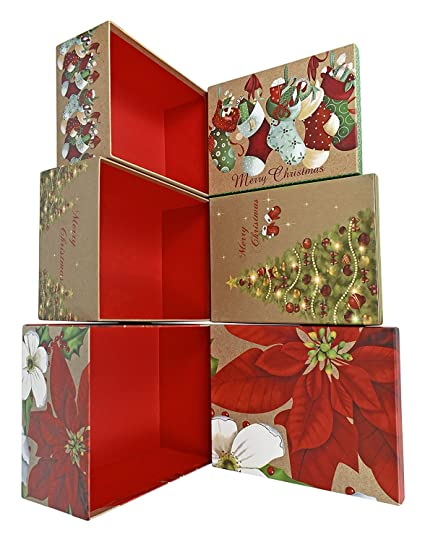 alef elegant decorative holiday themed nesting gift boxes 3 boxes 115x5