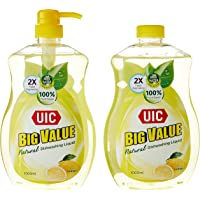 UIC Big Value Dishwashing Liquid Pump, Lemon, 1000ml, (Pack of 2)