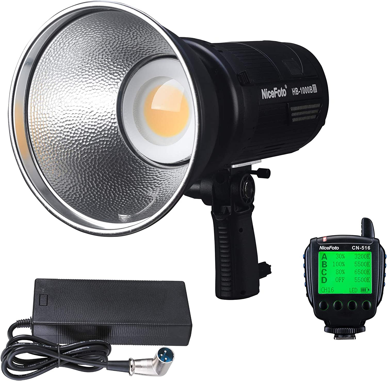 CRI96 2.4G Remote Control TLCI96 NiceFoto HB-1000B II AC DC Kit COB Daylight LED Video Light Bowens Mount Portable Bag