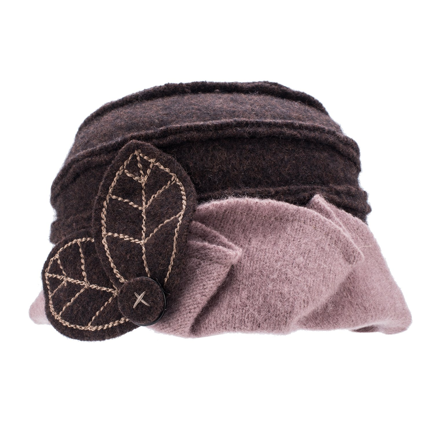 Lawliet Two-Tone Womens Ladies Winter 1920s 100% Wool Leaf Bucket Beret Cap Hat A375 (Brown Top Khaki Trim)