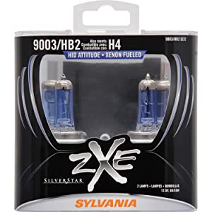 SYLVANIA - 9003 (HB2, H4) SilverStar zXe High Performance Halogen Headlight Bulb - Headlight & Fog Light, Bright White Light Output, HID Attitude, Xenon Fueled Technology (Contains 2 Bulbs)