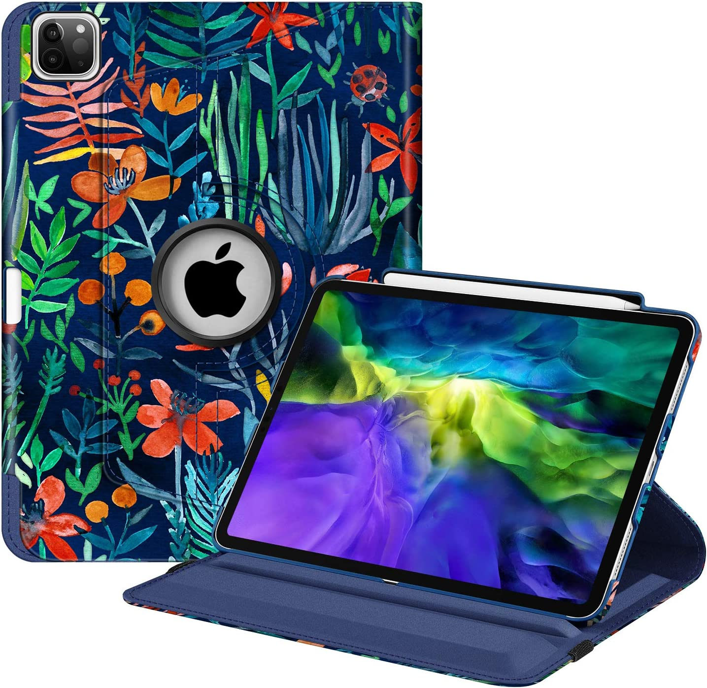 "Fintie Case with Built-in Pencil Holder for iPad Pro 11"" 2020 & 2018 [Support 2nd Gen Pencil Charging Mode] - 360 Degree Rotating Stand Protective Cover with Auto Sleep/Wake, Jungle Night"