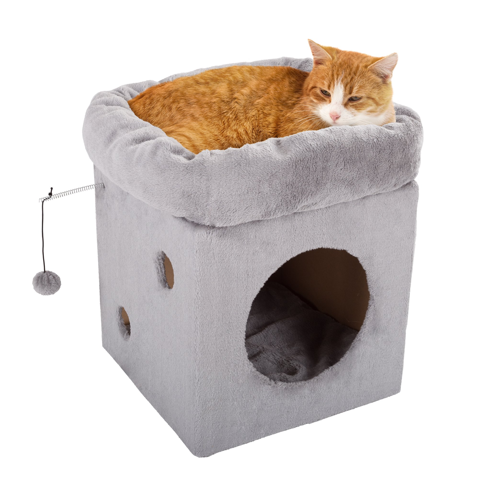 Cat Pet Bed/House with 2 Removable Plush Cushion Pads- Indoor Enclosed Covered Condo/Cavern for Cats, Kittens, and Small Pets by PETMAKER (Frost Gray) by PETMAKER