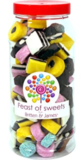 LIQUORICE ALLSORTS 600g+. Feast of Sweets Jar by Britten & James®. Dulces británicos