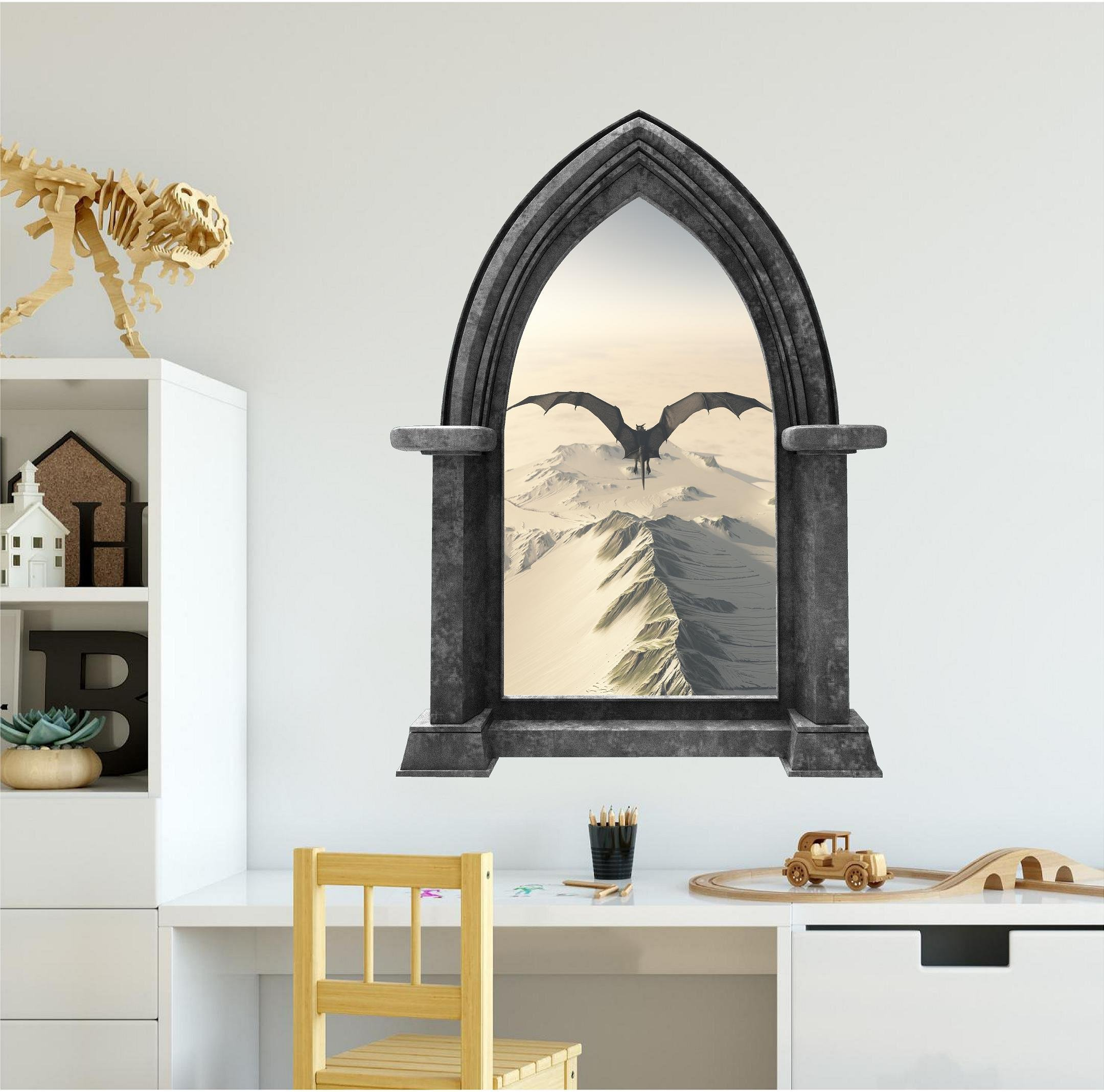 48'' Castle Scape Instant Fantasy Window View BLACK DRAGON #2 GRANITE HUGE Wall Decal Sticker Mural Fairy Tale Kids Boys Bedroom Decor Game Of Thrones