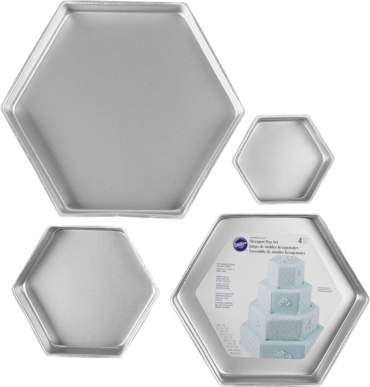 Wilton Performance Pans Aluminum Hexagon Cake Pan Set, 4-Piece
