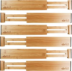 XcE Adjustable Bamboo Drawer Dividers (11.5-17 in,Natural, Set of 6) - Expandable Drawer Organization Separators for Kitchen, Dresser, Bedroom, Bathroom and Office