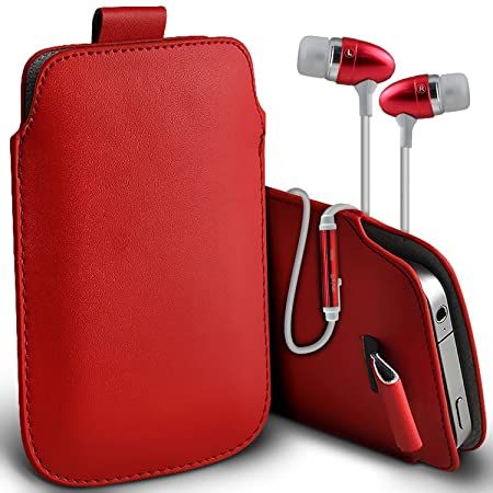 the latest 0b39f 16733 ( Red + Ear phone ) Pouch case for Argos Alba 5 Inch case Premium Stylish  Faux Leather Pull Tab Pouch Skin case cover Various Colours To Choose From  ...