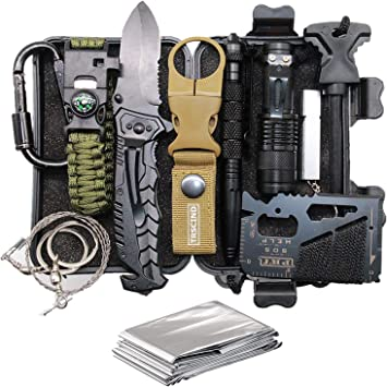 Amazon Com Cool Unique Christmas Birthday Gifts For Men Dad Him Boyfriend Husband Stocking Stuffers For Men Fun Cool Gadgets For Mens Gifts Ideas 11 In 1 Survival Gear And Equipment Official Survival Kit