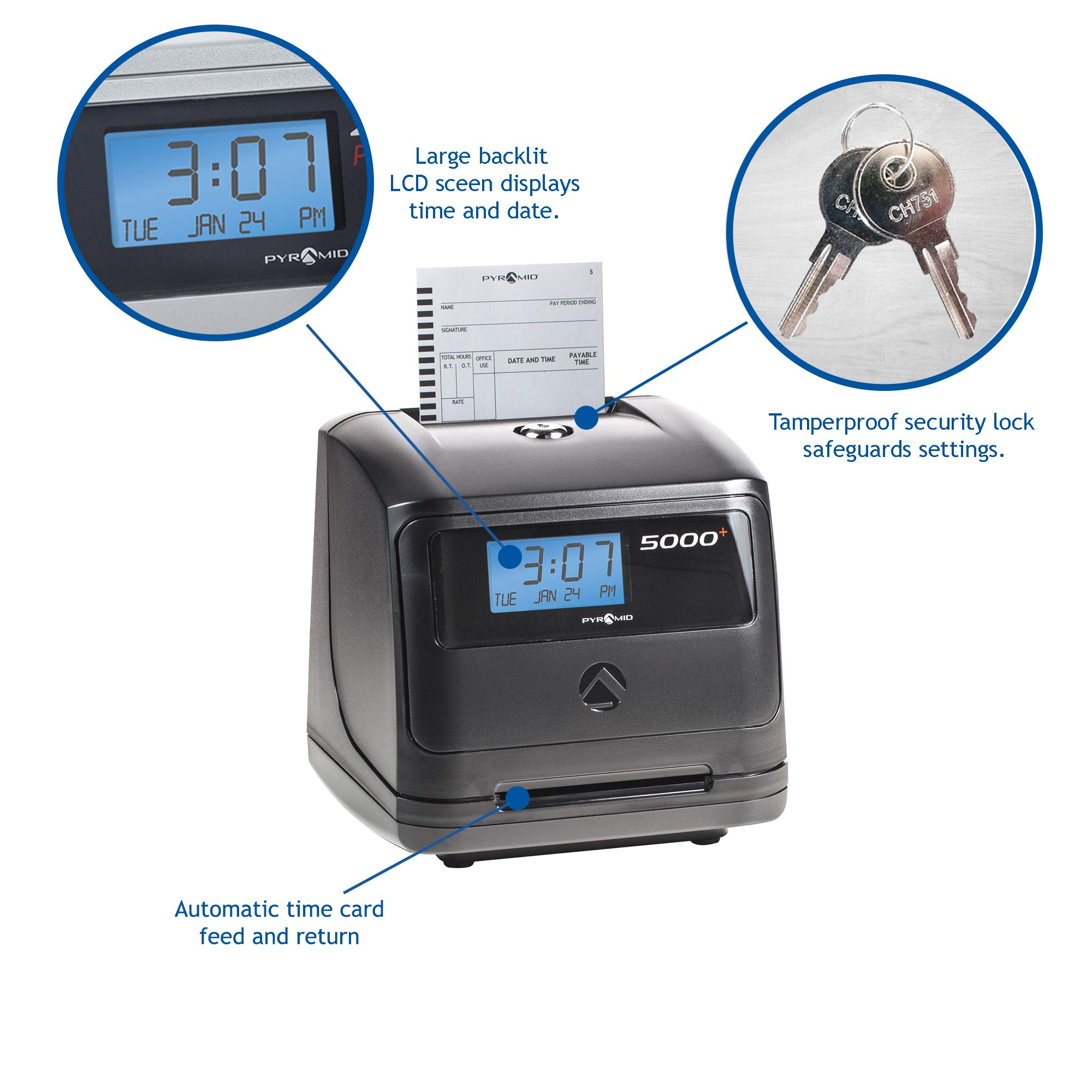 Pyramid 5000 Auto Totaling Time Clock, 100 Employees - Made in USA by Pyramid Time Systems (Image #4)