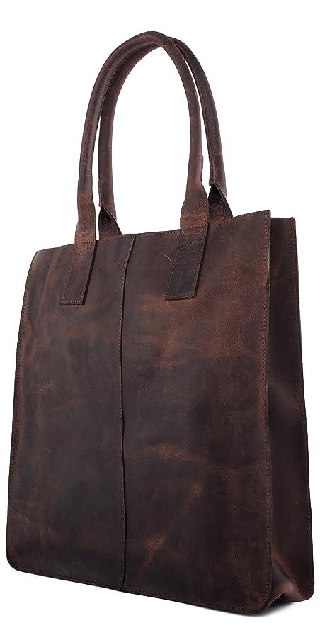 LEABAGS Mendoza sac à main rétro-vintage en véritable cuir de buffle - Noix de muscade 8jyC35KWI