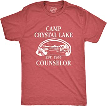 Mens Camp Crystal Lake T Shirt Funny Graphic Camping Vintage Adult Novelty Tees, Heather Red, Large