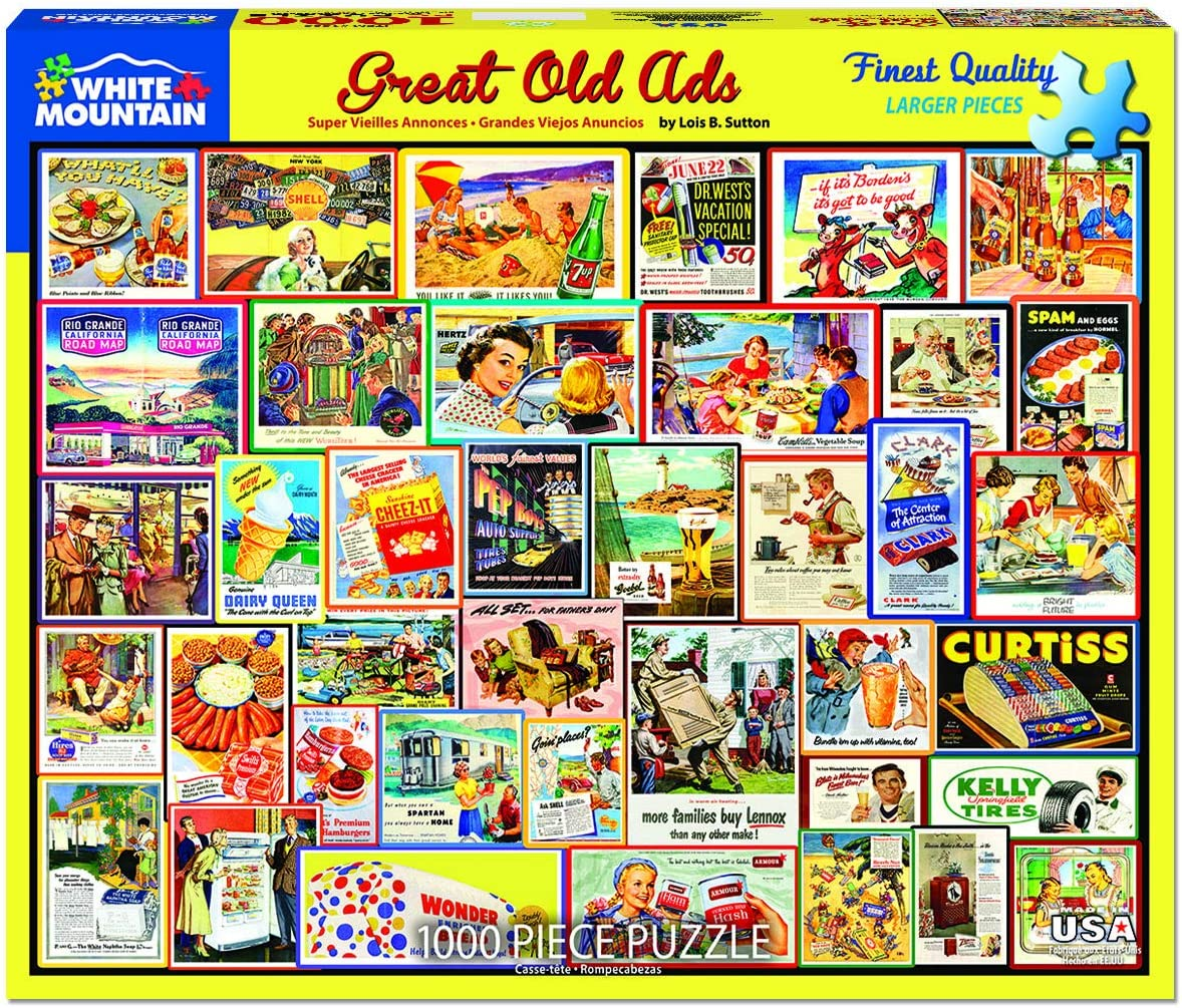 White Mountain Puzzles Great Old Ads 1000 Piece Puzzle, 1 EA