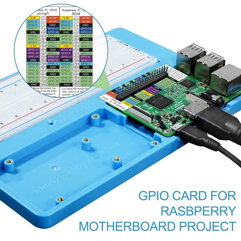 Uniroi 7 In 1 Rab Holder Breadboardbase Plate Case For Project 42 Breadboarded Circuit Arduino Uno R3 Mega 2560 Raspberry Pi 3 Model B 2 B1 Rpi Zero W And