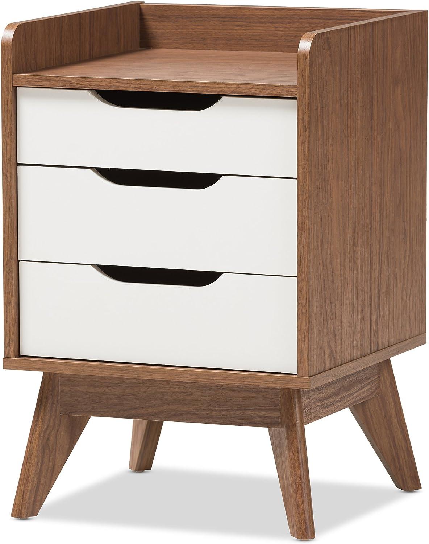 Baxton Studio Maddy Mid-Century Modern Wood 3-Drawer Storage Nightstand, White Walnut Brown