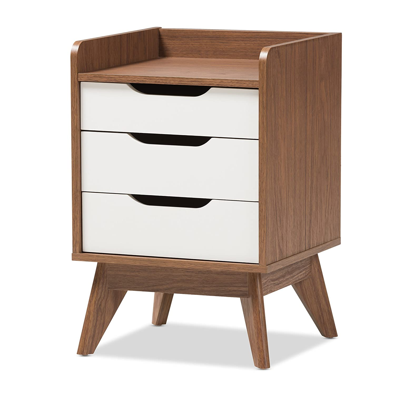 Baxton Studio 424-7498-AMZ Maddy Mid-Century Modern Wood 3-Drawer Storage Nightstand, White/Walnut Brown Wholesale Interiors