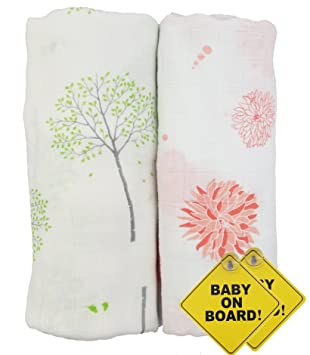 3 Pack of 100/% Cotton Muslin Swaddle Blankets for Baby Boys and Girls Unisex//Gender Neutral Parker Baby Swaddle Blankets Classics Set