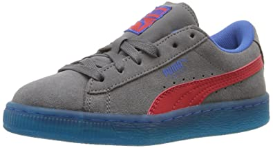 PUMA Kids' Suede LFS Iced PS Sneaker, Steel Gray/High Risk Red Royal
