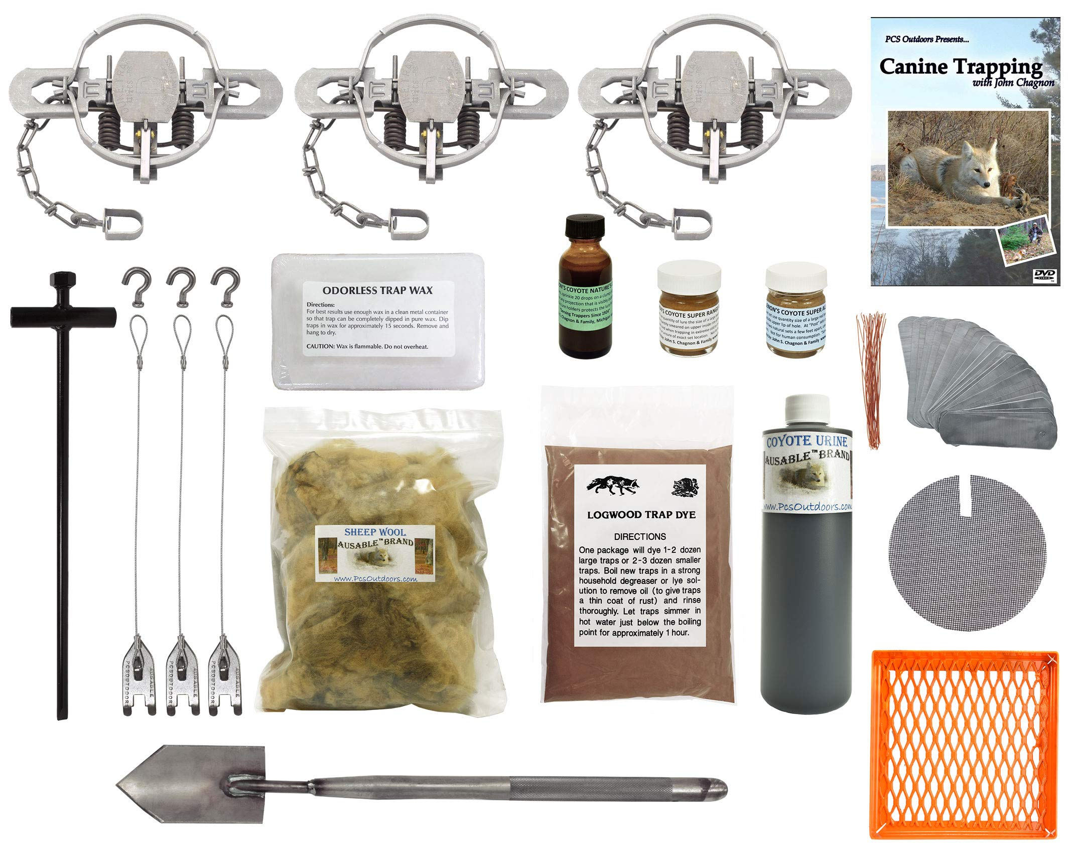 PcsOutdoors Basic Coyote Trapping Starter Kit (17 Pieces)