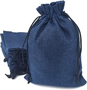 50PCS Burlap Bags with Drawstring Gift Jute bags Included Cotton Lining (6.7 X 9 Inch, 08 Navy)