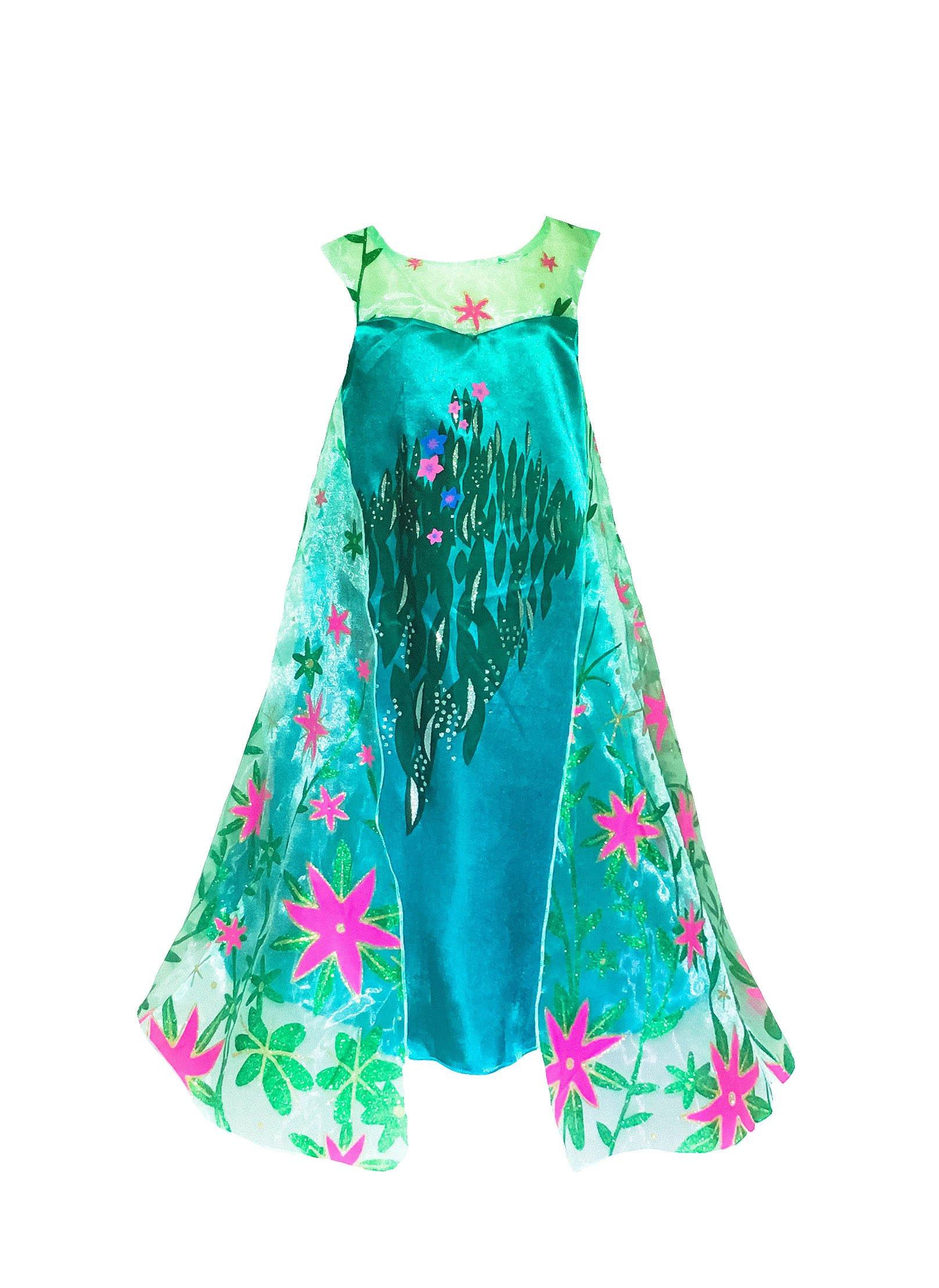 American Vogue Anna ELSA Frozen Fever Girl's Birthday Dress Costume (6-7 Years, Teal)