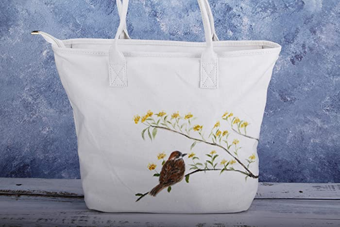db79c7273 Hand Painted Women Large Bird Canvas Tote Bag with Zipper Pocket-Fabric  Cotton Vegan Shoulder Bag Handbag-Botanical Bird Purse-Reusable Grocery  Market ...